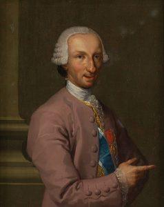 Carlos III con traje de corte rosa