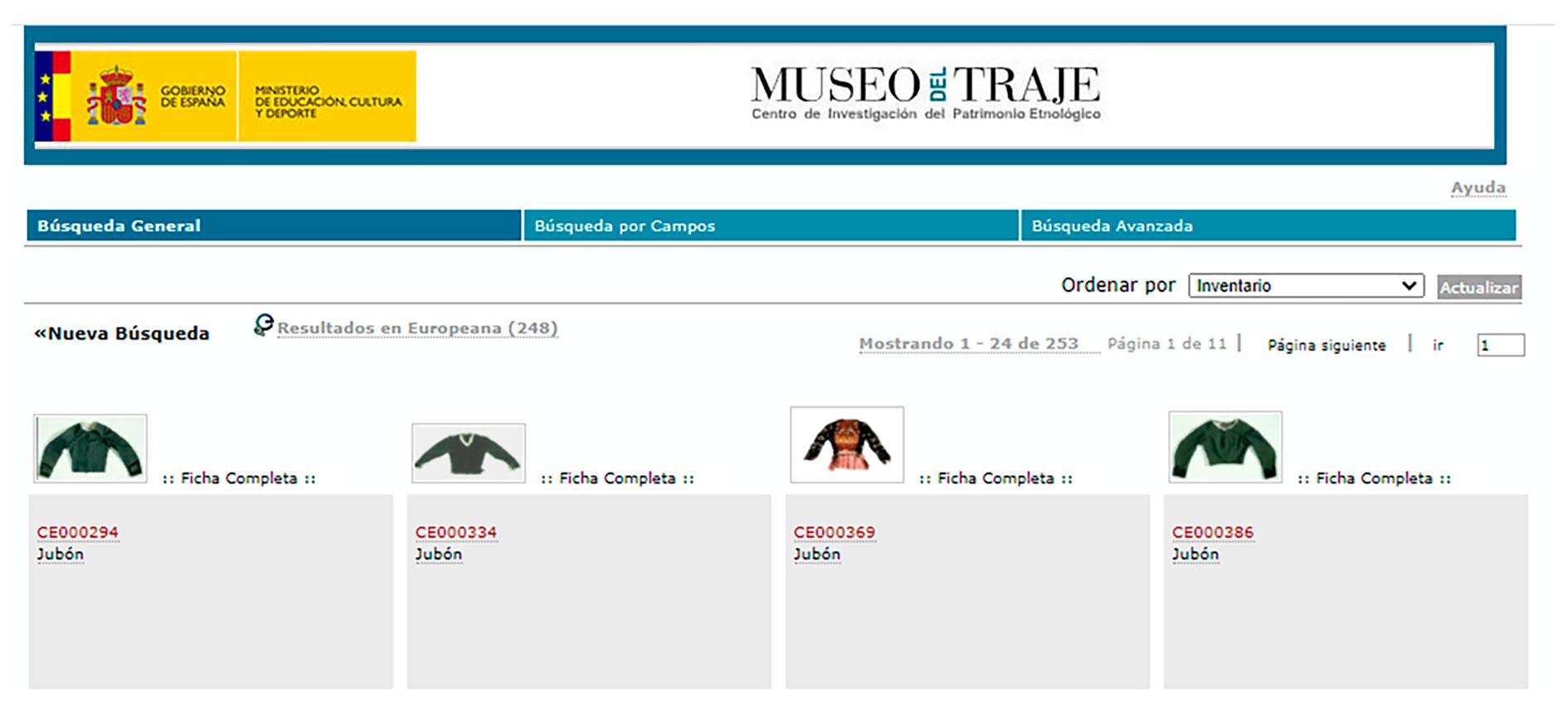 Fondos de indumentaria _ BASE DE DATOS MUSEOS EN LÍNEA DE CATALUNYAMUSEO DEL TRAJE DE MADRID